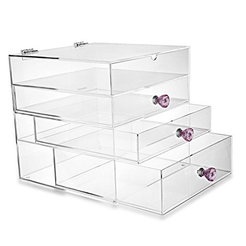 HESIN Acrylic Makeup Organizer Cosmetic Storage Display Boxes Jewelry Chest (Large)