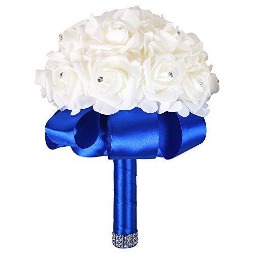 StillCool Wedding Bouquets Crystal Pearl Silk Roses Bridal Bridesmaid Wedding Hand Bouquet Artificial Fake Flowers (21cm x 25cm, Royal-Blue)