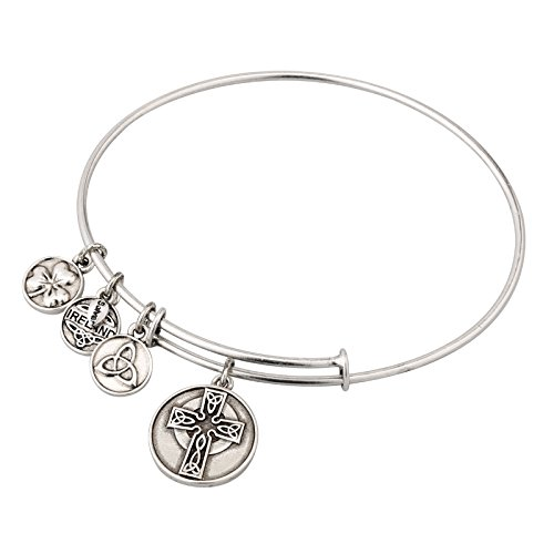 Silver Tone Enamel Charm Bangle Bracelet with Large Celtic Cross Charm in Gift Box Made in Ireland (Celtic Charm Womens)