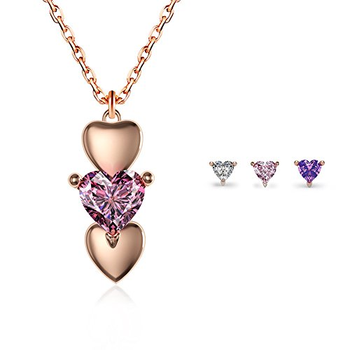 EVBEA Rose Gold Heart Necklace Womens Pink Purple White CZ Diamond Pendant Necklace with Three Interchangeable (3 Stone Purple Pendant)