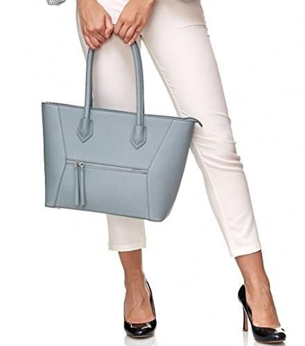 A4 amp; Study Women Bag Work Handbag Melissa Shopping Vanessa Blue PU Shopper Leather 6P1Z1nx