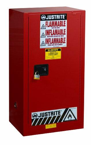 Justrite 891511 Sure-Grip EX Steel 1 Door Manual Combustibles Safety Cabinet, 20 Gallon Capacity, 23-1/4