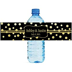 "100 Gold Confetti Black Background Wedding Water Bottle Labels Engagement Party 8""x2"""