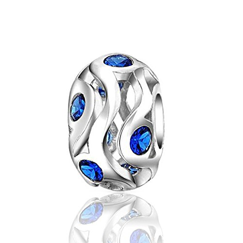 Everbling Blue Simulated Sapphire CZ September Birthstone 925 Sterling Silver Bead Fits Pandora Charm Bracelet