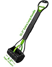 """HEAPETBON 31.5"""" Long Handle Pet Pooper Scooper for Large Dogs and Cats Jaw Poop Scoop Pet Pickup Tool-Green"""