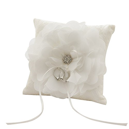 Mangadua Romantic Satin Lace Wedding Pocket Ring Bearer Pillow 5.9'' x 5.9'' by Mangadua