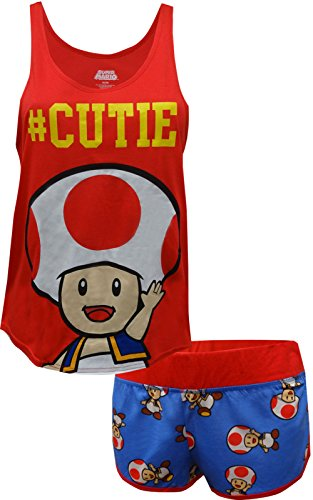 Nintendo Super Mario Toad #Cutie Shortie Pajama for women