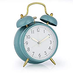 Loud Alarm Clock for Boys, 4 Inch Silent Non-Ticking Quartz Double Twin Bell Alarm Clock Battery Operated Classic Tabletop Desk Alarm Clock for Bedroom, Blue