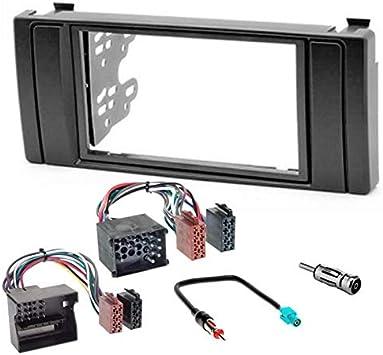 Sound-way Kit Montaje Autoradio, Marco 2 DIN Radio para Coche, Soportes de Montaje, Cable Adaptador Conector ISO, Adaptador Antena, compatible con BMW ...