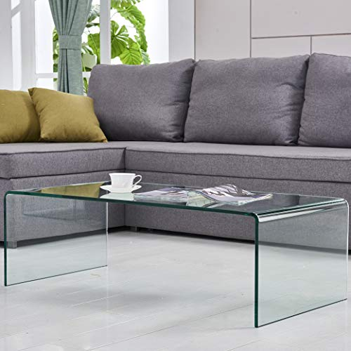 Glass Clear Coffee Table Thick Tempered Glass Living Room Table Accent Furniture with 15 Year Warranty Bent - Table Modern Glass Coffee
