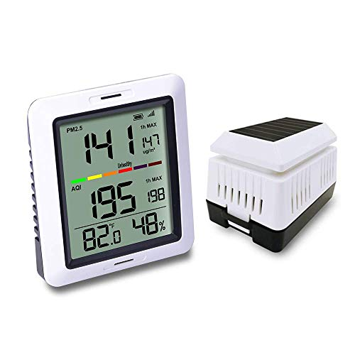 ECOWITT WH0290 Air Quality Monitor Meter PM2.5 Detector Indoor Outdoor with Temperature and Humidity for Home Office ()