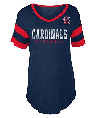New Era St. Louis Cardinals Women's Double Stripe Short Sleeve V-Neck T-Shirt Medium
