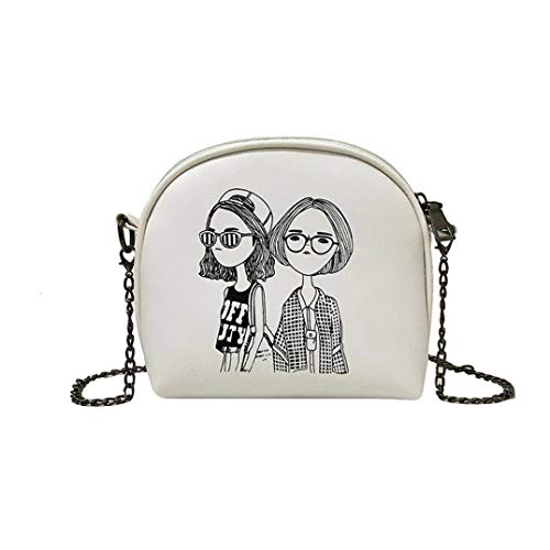 (Crossbody Bags for Women,iOPQO Ladies cartoon print patent leather shoulder bag)