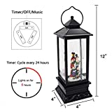 Eldnacele Christmas Musical Snow Globe Lantern Plug in & Battery Operated Glitter Lamp Navitity Scene Lighted Lantern with 6 Hour for Christmas Decoration 12 Inches