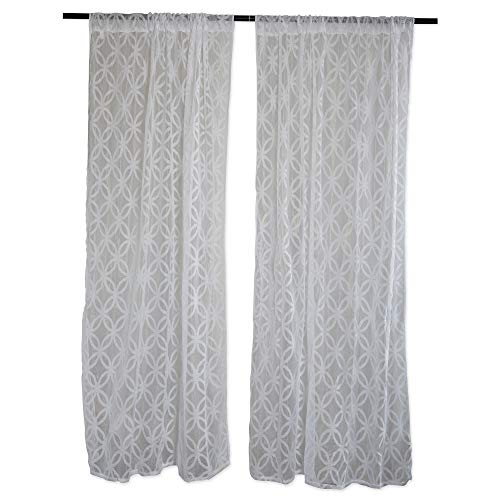 Home Essentials DII Sheer Lace Decorative Curtain Panels For Bedroom, Living Room, Guest Room, or Formal Sitting Areas, Light & Airy To Filter Sunlight Into Room, (Set of 2, 50 ()