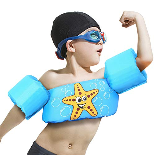 MICHER Kids Life Vest,Swim Trainee Arm Bands Rings Floats Infant Baby Child Swim Sleeves Vest Water Sport Learning Swim Aid Vest for 2-6 Year Old Boy/Girl