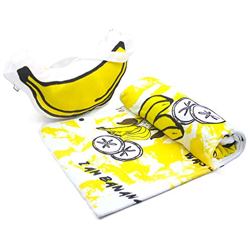 Microfiber Travel Sports Camping Towel with Pillow - 28''x 60'', Quick Drying Beach Bath Towel - Super Absorbent Compact Banana Swimming Towel Yoga Mat - Camping Accessories for Hiking, Backpacking