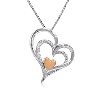 Sterling Silver and 14K Gold Diamond Heart Pendant-Necklace