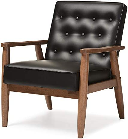 Baxton Studio Sorrento Mid-Century Retro Modern Faux Leather Upholstered Wooden Lounge Chair