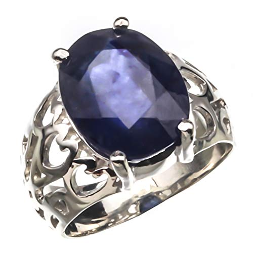 Arenaworld 5 Carat Natural Certified Blue Sapphire Gemstone 925 Sterling Silver Handmade Statement Ring for Men and Women/Vintage Ring