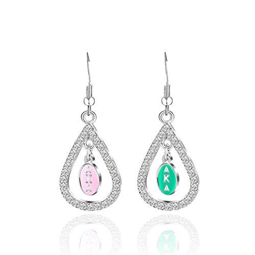 Alpha Metals Lead - KINGSIN Personalized Water Drop Crystal Dangle Earrings Silver Alpha Kappa Alpha Sorority Gifts for Women Girls