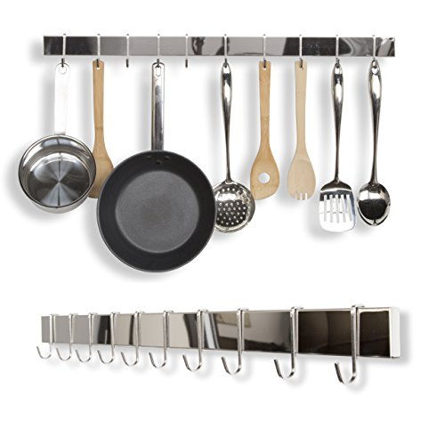 WALLNITURE Kitchen Bar Rail Pot Pan Lid Rack Organizer Chrome 30 Inch Set of 2