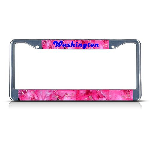 license-plate-covers-west-coast-rhododendron-washington-flower-chrome-metal-license-plate-frame