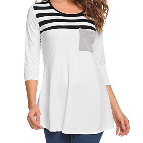 Liraly Womens Tops Long Sleeve,Clearance Sale! Fashion Women Casual Stripe Printing Pocket Tunic Shirt Long Sleeve Tops Blouse(US-6 /CN-M,Black) ()