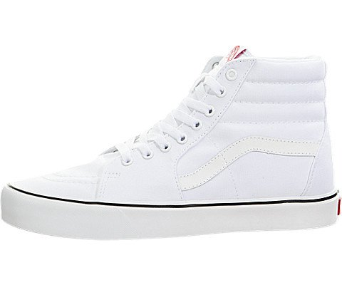 Vans Unisex Sk8-Hi Lite (Canvas) True White Skate Shoe 7 Men US / 8.5 Women US