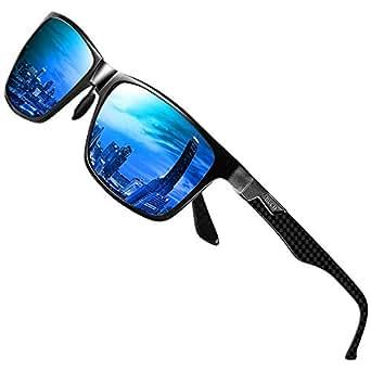DUCO Mens Classic Rectangular Polarized Metal Frame Sunglasses with Carbon Fiber Temples 8206 (Black Frame Blue Lens, Blue)
