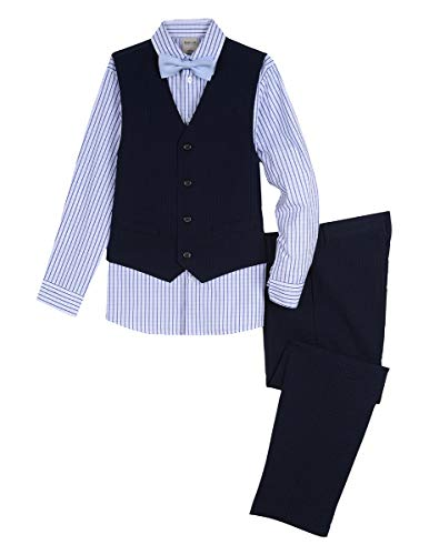 Kenneth Cole Boys 4-Piece Formal Vest Set, Tonal Navy 8
