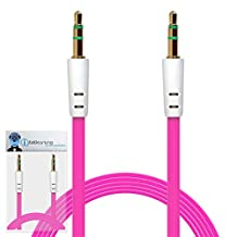 iTALKonline Asus MemoPad HD 7 Hot Pink FLAT 3.5mm Male to Male Gold Plated Mini Jack to Jack AUX Auxiliary Stereo Connection Cable Lead Wire
