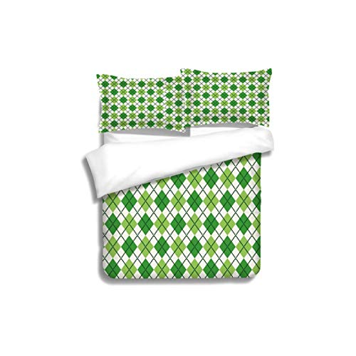 VROSELV-HOME Print Comforter Quilt Set,Irish Classical Argyle Diamond Line Pattern with Crosswise Lines Old Fashioned Decorative Green with 1 Pillowcase for Kids Bedding