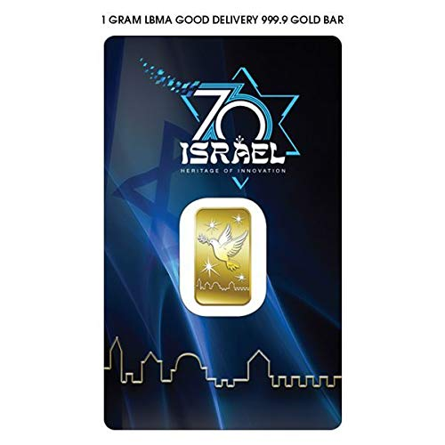 1 Gram Pure Gold Bar 999.9 - ISRAEL'S 70th ANNIVERSARY - The Holy Land Mint Bullion Bars in Assay ... (Fine Gold Coin)