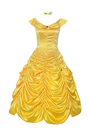 ReliBeauty Womens Princess Belle Costume Layered Dress up, Yellow, 14