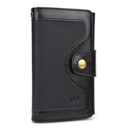 Kroo Universal BiFold Wallet with Snap Button Strap for 5.5-Inch Smart Phones - Non-Retail Packaging - Black