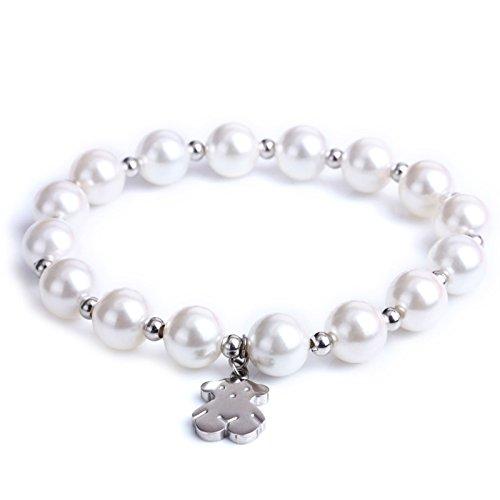 (URs Bling-Bling Women's Pearls Strand Bracelet with Stainless Steel Teddy Bear)