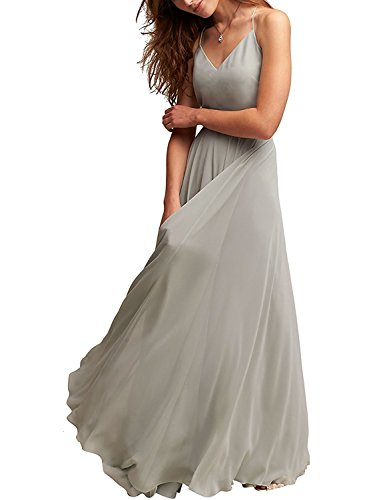 Silver Spaghetti Gowns Long Chiffon Evening Bridesmaid Cdress V Dresses Dress Neck Prom qHP86