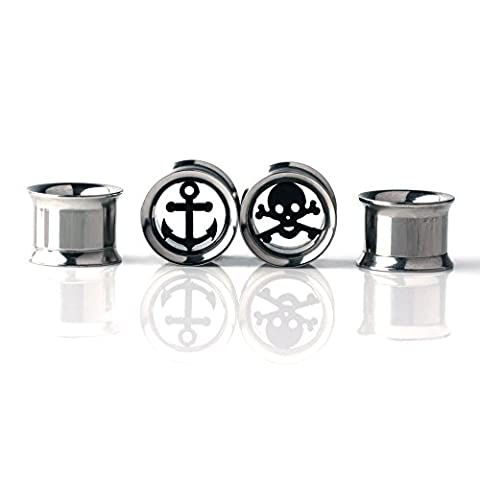 Ruifan 2 Pairs Stainless Steel Skull & Achor Center Screw Ear Gauges Flesh Tunnels Plugs Expander Stretcher Piercing Jewelry (Skull 0 Gauges)