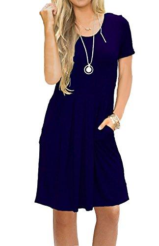 Pleated Sleeve Swing Pockets with MIDOSOO Midi Loose Womens Casual Blue Dress Short Navy pBgxgS