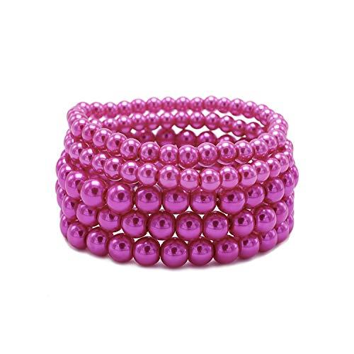 T-Doreen 5 Pcs Red Pearl Bracelet Set for Women Girl Beaded Stretch Strand Costume Bracelet Bracelet Costume Fashion Jewelry
