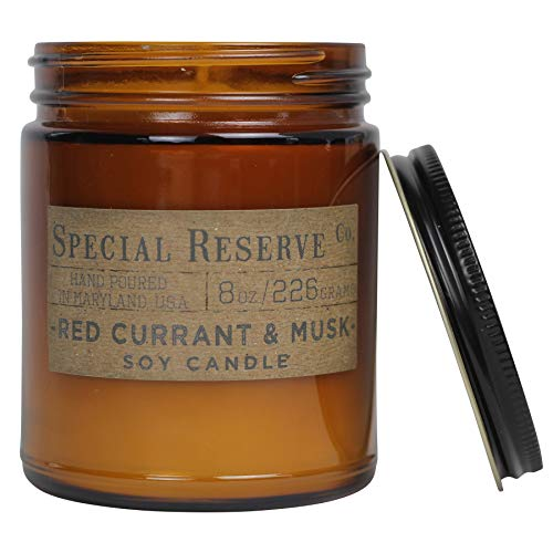 Red Currant & Musk Scented Soy Wax Candle - 8 oz. Amber Vintage - Candle Musk