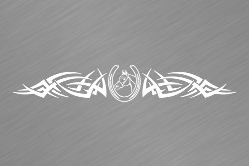 Sticky Creations - Design #105-02 Horse Horseshoe Rear Back Window Decal Sticker Vinyl Graphic Tribal Spikes Accent Tailgate Car Truck SUV Van Boat Trailer Camper Wall | 36