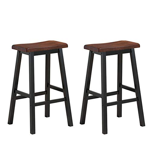 COSTWAY Saddle Seat Stools Set of 2 Wood Vintage Counter Height Bistro Dining Kitchen Pub Side Chairs 29 H Brown