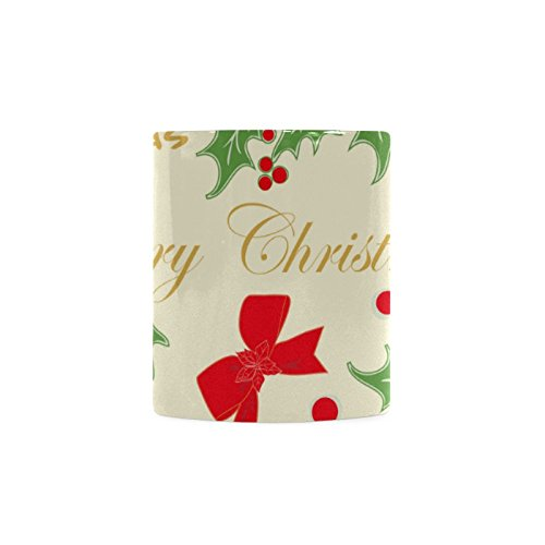 [Xmas Christmas Mistletoe and Holly White Ceramic Coffee Mug Tea Cup] (Shredder Costume Pattern)