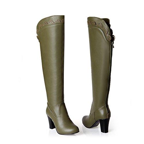 A&N Girls Chunky Heels Back Zipper Carved Flower Soft Material Boots Green vzLdq0M6R