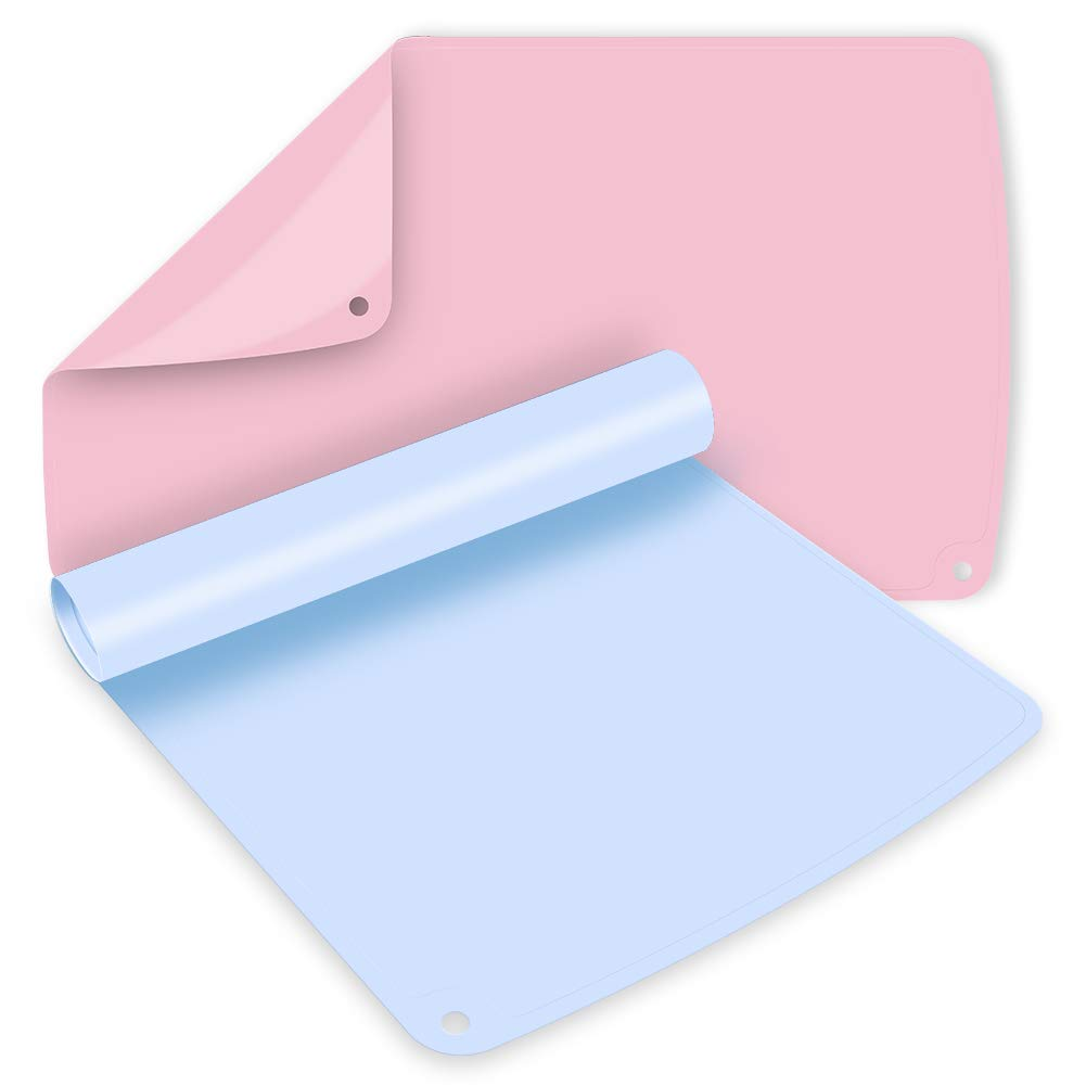 Non-Slip Silicone Placemats for Kids Baby Placemats Macaron Placemats Dishwasher Safe 2 Pack 19.7''x 11.8'' Light Blue&Pink