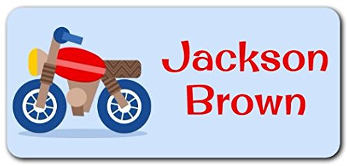 Personalized Name Labels - Cute Customized Designs for Both Babies and Kids - Great for School and Daycare - Easy-to-Apply Stickers Have a Glossy Finish - Waterproof - 48 ct. (Motorbike)