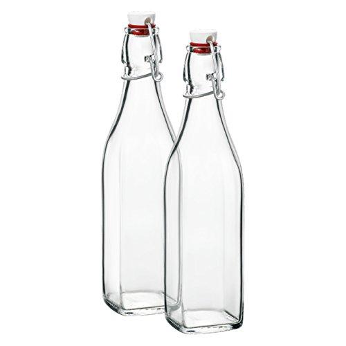 Klikel Conway Square Glass Water Bottles - Swing Top Clear Glass Multi-purpose Bottles 1 Liter (33.8oz), Set of 2 by Klikel
