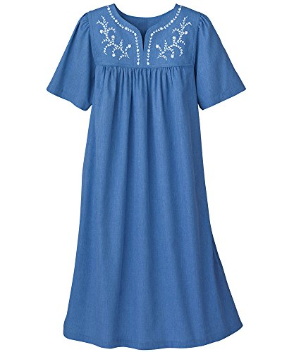National Embroidered Chambray Dress, Blue, 2X (Patio Size Plus Dresses)
